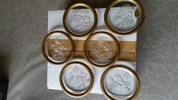 Val St Lambert 6x Oude Tafel Onderzetters Met Bloemen Design (zeldzaam) - Verre & Cristal