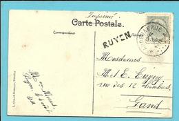 81 Op Kaart Stempel AUDENAERDE Met Naamstempel (Griffe D'Origine) RUYEN - 1893-1907 Coat Of Arms
