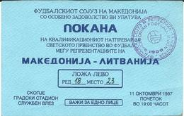 Match Tickets - Football Mach Macedonia Vs Lithuania 1997 - Tickets D'entrée