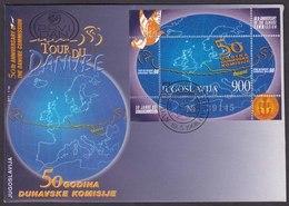 Yugoslavia 1998 Tour Du Danube, Cycling, Sport, 50 Anniversary Danube Commisssion, Block, Souvenir Sheet FDC - Ciclismo
