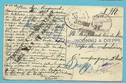 Kaart DEINZE Op 5/10/1914 Naar BRUGGE 11/10/14 , Stempels INCONNU A DIEPPE + FECAMP + AUVOURS+EU (camp D'instruction) !! - WW I