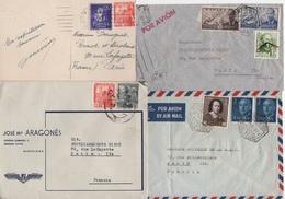 Espagne - Lot De 3 Lettres Et 1 Carte Destination France - 1931-Hoy: 2ª República - ... Juan Carlos I