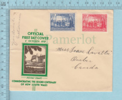Autriche , Austria - FDC , 1957 Flame Cachet: Commemorating The Sesqui-centenary Of New South Wales - FDC