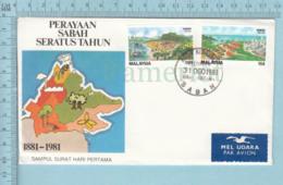 Malaysia  -FDC 1981, Cachet Flame: Sampul Surat Hari Pertama, Mel Udara Sticker - Malaysia (1964-...)