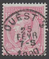 """COB N° 46 - Amblt. OUEST 3 - Oblitération """"CONCOURS"""" - 1884-1891 Leopold II"""