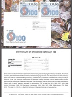 Dictionary Of Standard Estonian 100 2018 Estonia Stamp Presentation Card (engl) Mi 940 - Langues