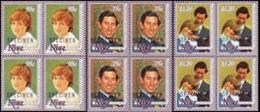 CV:€120.00 NIUE 1981 Diana Wedding SPECIMEN 4-BLOCKS:3 - Niue