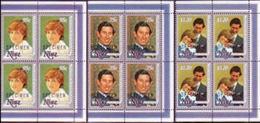 CV:€120.00 NIUE 1981 Diana Wedding SPECIMEN CORNERS 4-BLOCKS:3 - Niue