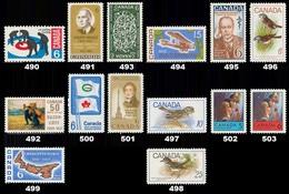 Canada (Scott No. 490-503 - 1968 Stamps) [**] - Unused Stamps