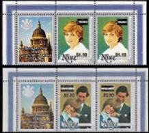 NIUE 1983 Diana 10c/95 $2.60/1.20 OVPT.CORNER PAIRS:2 + LABEL Cathedral - Niue