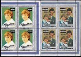 NIUE 1983 Diana 10c/95 $2.60/1.20 OVPT.CORNER 4-BLOCKS:2 - Niue