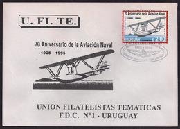Uruguay - 1995 -  FDC - 70ème Anniversaire De L'aviation Navale De L'Uruguay - Hydroplane - Aviones
