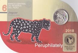 PERU 2018 , FAUNA JAGUAR , COIN ON CARD , MINT - Pérou