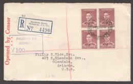 1941  Censored Registered Letteer From Elizabeth Str. To USA SG 166 Block Of 4 - 1937-52 George VI