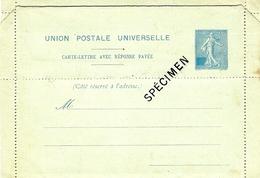 1906- N° SEL F -Timbre Bleu Clair - Carte Lettre Avec Réponse Payée - Projet Avec SPECIMEN Présenté à L'U.P.U. De 1906 - Letter Cards