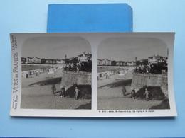 St. JEAN-de-LUZ : La Digue Et La Plage : S. 215 - 4424 ( Maison De La Bonne Presse VUES De FRANCE ) Stereo Photo - Stereoscopic