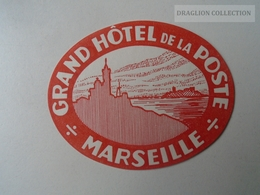 ZA138.35 Vintage Luggage Label  -Marseille -Grand Hotel De La Poste - Hotel Labels