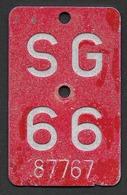 Velonummer St. Gallen SG 66 - Plaques D'immatriculation
