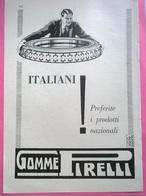 PUBBLICITA' ITALIANI PREFERITE I PRODOTTI ITALIANI GOMME PIRELLI  1929 RITAGLIATA DA GIORNALE - Pubblicitari