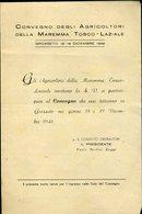165 GROSSETO 1948 CONVEGNO DEGLI AGRICOLTORI MAREMMA TOSCO LAZIALE , PROGRAMMA - Italia