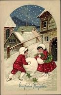 Gaufré Cp Glückwunsch Neujahr, Kinder, Schnee - Anno Nuovo