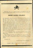 164 MANIFESTO IMPERO AUSTRO UNGARICO , OTTOBRE 1918 - Documenti Storici