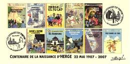 FRANCE 2007 N°106 Albums Fictifs + 2 Cachets Premier Jour FDC TINTIN KUIFJE TIM HERGE GUEBWILLER - Comics