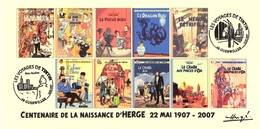 FRANCE 2007 N°110 Albums Fictifs + 2 Cachets Premier Jour FDC TINTIN KUIFJE TIM HERGE GUEBWILLER - Bücher, Zeitschriften, Comics