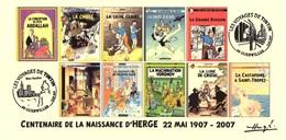 FRANCE 2007 N°107 Albums Fictifs + 2 Cachets Premier Jour FDC TINTIN KUIFJE TIM HERGE GUEBWILLER - Hergé
