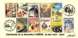 FRANCE 2007 N°108 Albums Fictifs + 2 Cachets Premier Jour FDC TINTIN KUIFJE TIM HERGE GUEBWILLER - Hergé