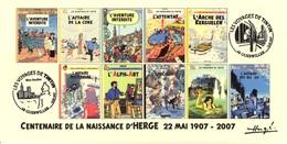 FRANCE 2007 N°109 Albums Fictifs + 2 Cachets Premier Jour FDC TINTIN KUIFJE TIM HERGE GUEBWILLER - Hergé