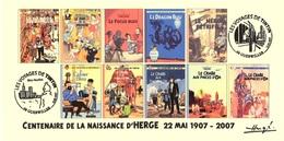 FRANCE 2007 N°110 Albums Fictifs + 2 Cachets Premier Jour FDC TINTIN KUIFJE TIM HERGE GUEBWILLER - Hergé
