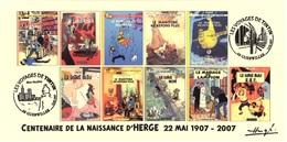FRANCE 2007 N°111 Albums Fictifs + 2 Cachets Premier Jour FDC TINTIN KUIFJE TIM HERGE GUEBWILLER - Hergé
