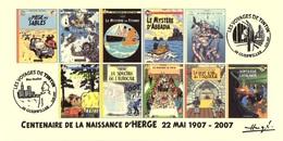 FRANCE 2007 N°112 Albums Fictifs + 2 Cachets Premier Jour FDC TINTIN KUIFJE TIM HERGE GUEBWILLER - Hergé