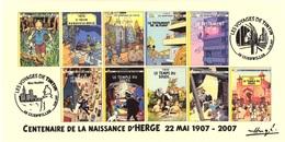 FRANCE 2007 N°113 Albums Fictifs + 2 Cachets Premier Jour FDC TINTIN KUIFJE TIM HERGE GUEBWILLER - Hergé