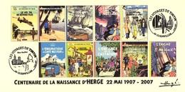 FRANCE 2007 N°114 Albums Fictifs + 2 Cachets Premier Jour FDC TINTIN KUIFJE TIM HERGE GUEBWILLER - Hergé