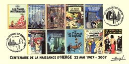 FRANCE 2007 N°115 Albums Fictifs + 2 Cachets Premier Jour FDC TINTIN KUIFJE TIM HERGE GUEBWILLER - Hergé