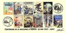 FRANCE 2007 N°116 Albums Fictifs + 2 Cachets Premier Jour FDC TINTIN KUIFJE TIM HERGE GUEBWILLER - Hergé
