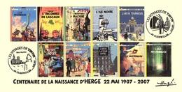 FRANCE 2007 N°117 Albums Fictifs + 2 Cachets Premier Jour FDC TINTIN KUIFJE TIM HERGE GUEBWILLER - Hergé