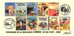 FRANCE 2007 N°118 Albums Fictifs + 2 Cachets Premier Jour FDC TINTIN KUIFJE TIM HERGE GUEBWILLER - Hergé