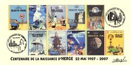 FRANCE 2007 N°119 Albums Fictifs + 2 Cachets Premier Jour FDC TINTIN KUIFJE TIM HERGE GUEBWILLER - Hergé