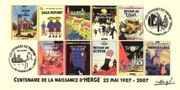 FRANCE 2007 N°120 Albums Fictifs + 2 Cachets Premier Jour FDC TINTIN KUIFJE TIM HERGE GUEBWILLER - Hergé