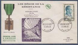 = Médéric Védy Héros De La Résistance Enveloppe 1er Jour Paris 25 Avril 1959 N°1200 Verso 1186 Médaille De La Libération - FDC