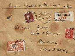 TP N° 145 Avec Complément Sur Enveloppe Chargé De Egreville Pour Montereau - Marcophilie (Lettres)