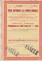 Th2VOITURE : RENAULT - Certificat1945   (16) - Actions & Titres