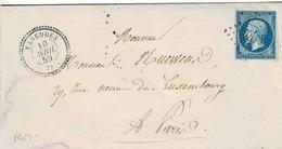 TP N° 14 Seul Sur Lettre  De Vareddes  Pour Paris, Losange PC 3489 Et Cachet Type 22 - 1849-1876: Classic Period