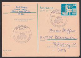 Germany East 25 Pf Ganzsache Berlin Fernsehturm, Weltzeituhr, SoSt. Schönebeck Mit Traktor, Tracteur Tractor, Portogenau - Postales - Usados