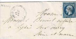 TP N° 14 Seul Sur Lettre  De Herblay Pour Lizy Sur Ourcq, Losange PC 3990 Et Cachet Type 22 - Marcophilie (Lettres)