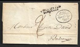 1821 LAC - REUNION - COLONIES PAR BORDEAUX - LE HENRY / CAPe LE REY / VOYAGE - RARE - Marcophilie (Lettres)
