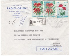 #8998 Lebanon, Beyrouth Firm Cover Air Mail Registered Mailed 1965: Flowerst - Lebanon